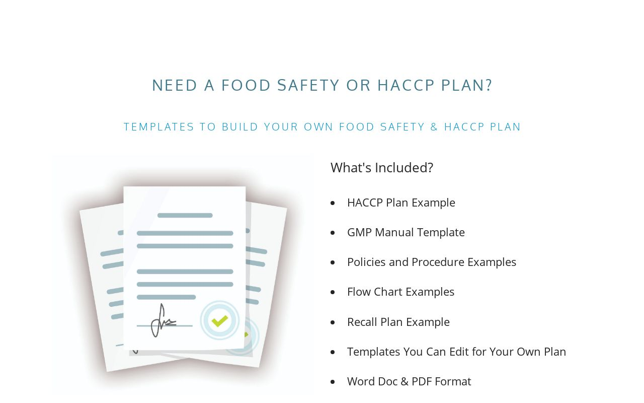 Food Safety Plan Haccp